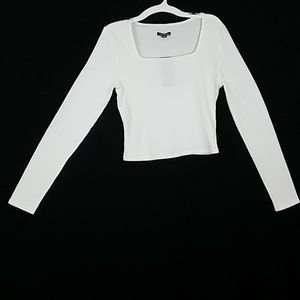 Long Sleeve White Square Neck Corp Top